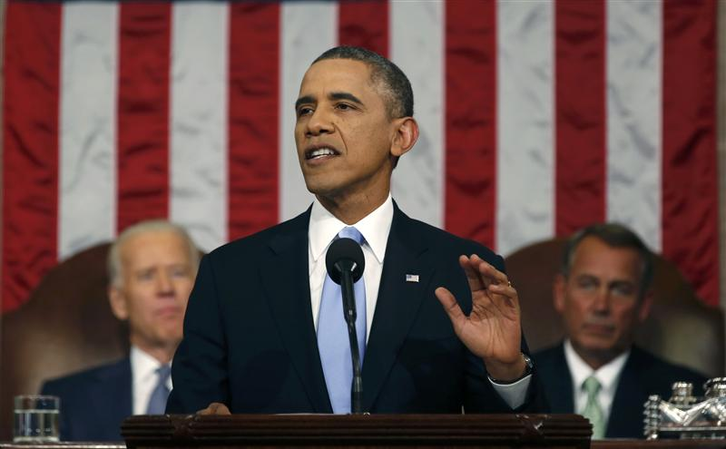 U.S. President Barack Obama delivers his State of the Union speech on Capitol Hill in Washington
