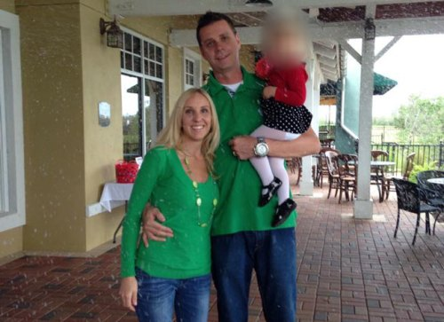 (Chad Oulson shown with his wife and daughter)