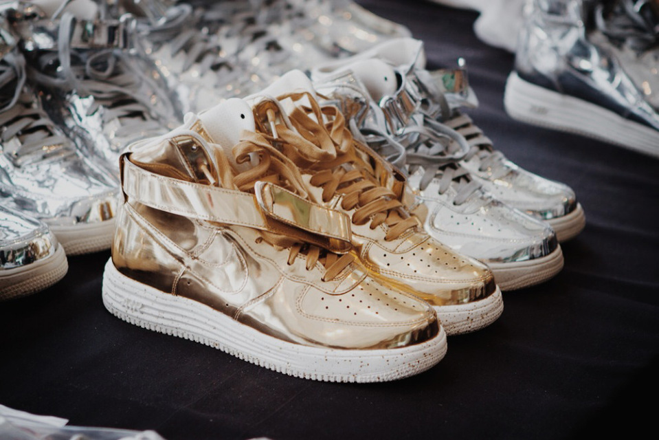 super popular 81b0a 61aef Check out these gold and silver metallic sneakers, which is a mix between  the Nike Air Force 1 and Nike Lunar Shoe. No information on whether or not  these ...
