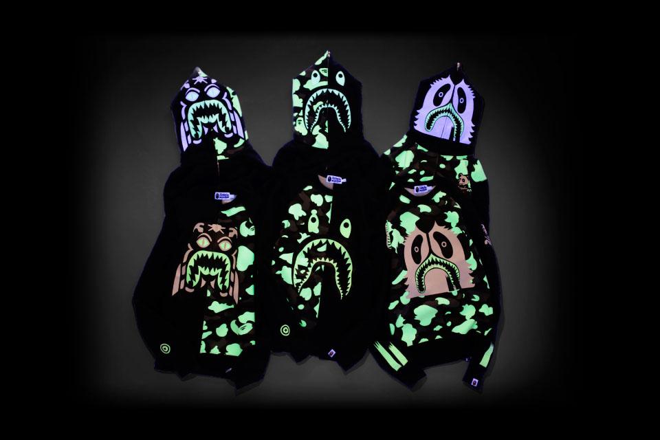 "9fc19bbe5 A Bathing Ape ""Glow in the Dark"" Shark Hoodies. bape-zozotown-glow-dark- hoodies-1"